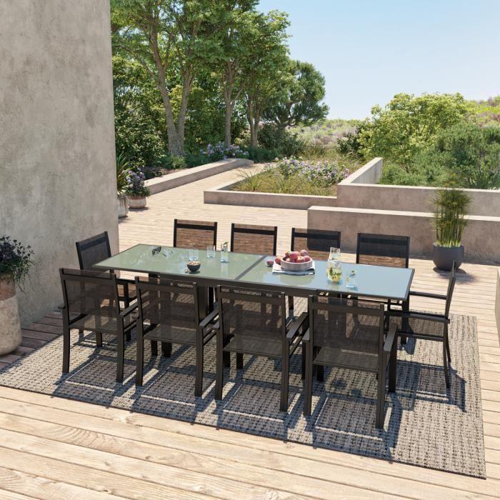 HARA XL - Table de jardin extensible aluminium 140/280cm + ...