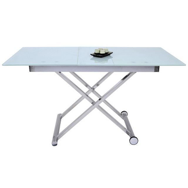 Table basse verre transformable for Table basse relevable pas cher