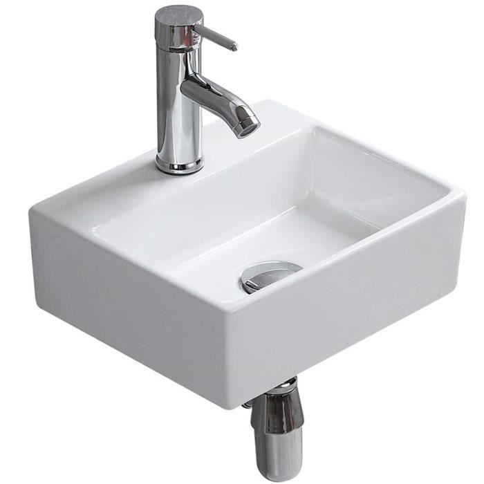 Vasque à Poser Blanche Céramique évier Moderne Designe Lavabo Lave Main  Salle de toilettes Bain eConnect-EU (34 x 29.5 x 12cm)