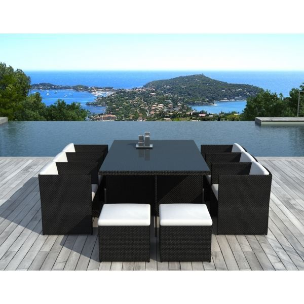 salon de jardin canc n r sine tress e noire achat. Black Bedroom Furniture Sets. Home Design Ideas