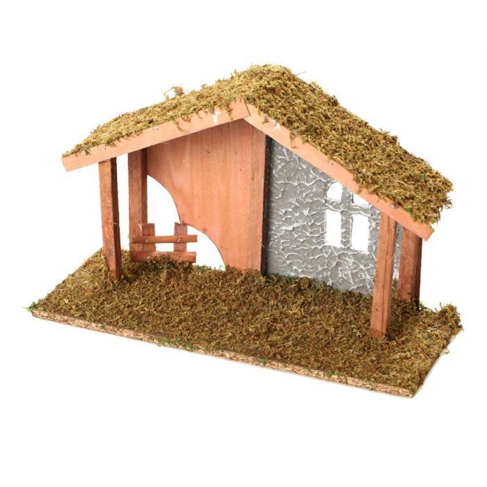 Crèche de Noël vide en bois 34x14x22 cm   Achat / Vente objet
