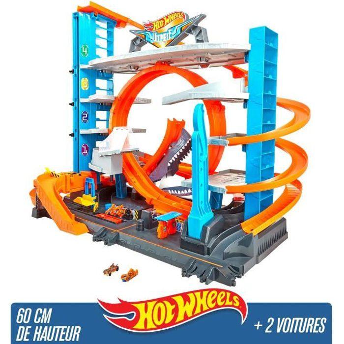 FTB69 Mattel coffret de jeu pour petites voitures avec circuit et pistes Hot Wheels City Garage Ultime Jouet pour enfant