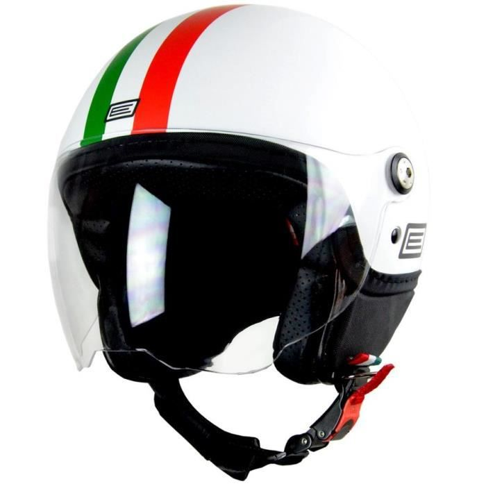 casque moto jet origine italy visi re blanc vert rouge achat vente casque moto. Black Bedroom Furniture Sets. Home Design Ideas