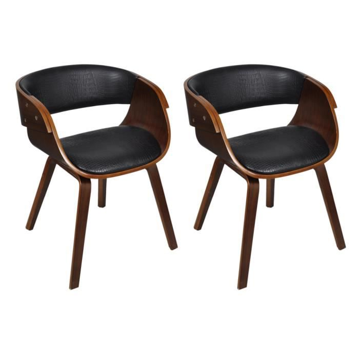 lot de 2 chaises accoudoirs confortable achat vente chaise cuir bois contreplaqu. Black Bedroom Furniture Sets. Home Design Ideas