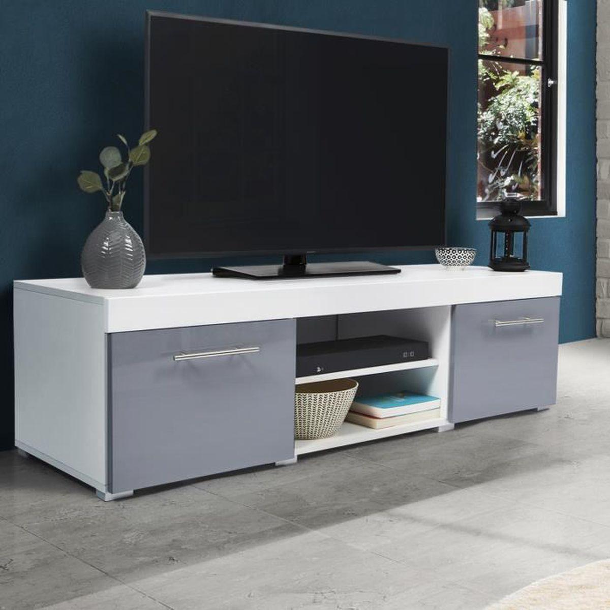 Meuble Tv Avec Barre De Son meuble tv contemporain portland blanc et gris - achat