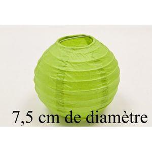 LANTERNE FANTAISIE Lampion papier de 7,5cm Vert anis - Lot de 4