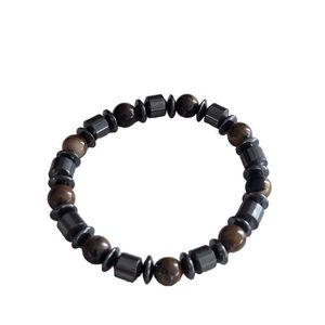 BRACELET - GOURMETTE Bracelet Marin Ancre Homme Noir Cuir Anchor Hope