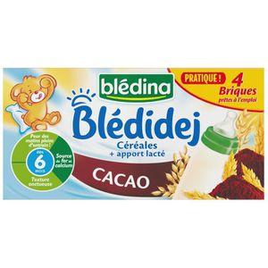LAIT BÉBÉ BLEDINA Bledidej Lait et Céréales Cacao 4x250 ml -