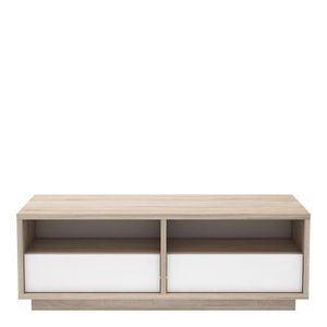 TABLE BASSE NATURE Table basse 2 tiroirs - Chêne brossé et bla