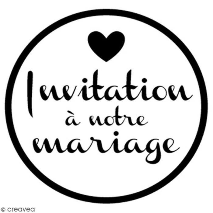 Tampon bois rond 3 cm - Invitation mariage ampon bois pour scrapbooking, carterie et Home Deco : - hème : Invitation mariage -
