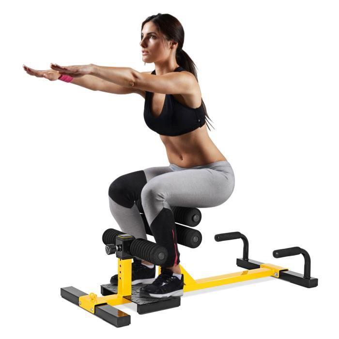 COSTWAY Banc de Musculation 3 en 1 Machine à Squat en Fer Hauteur Réglable à 6 Positons pour Entraînement de l'Abdominaux et Jambes