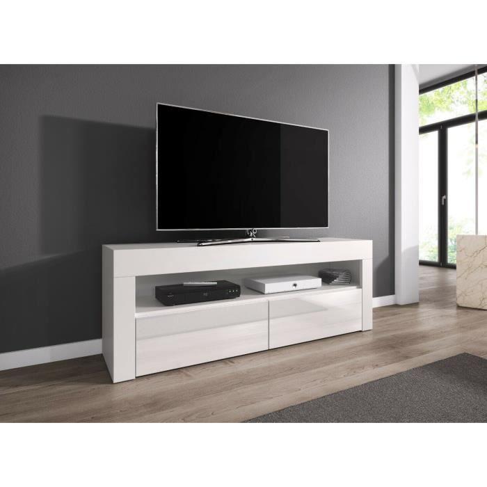 Meuble tv 140 cm blanc mat avec portes avant brillante