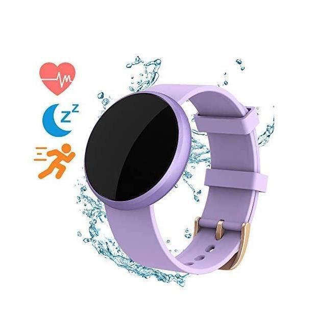 Montre Connectée Femme Compatible iPhone Android Etanche Fréquence Cardiaque Calorie Brûlé Podomètre Surveillance Sommeil Femme Cycl