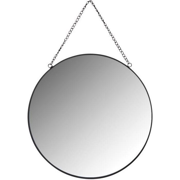 Miroir rond en métal laqué noir Noir