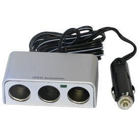 Cigare de voiture Triple repartiteur DC 12V 24V Interrupteur de la lumiere LED SODIAL R 3 Voies prise dallume