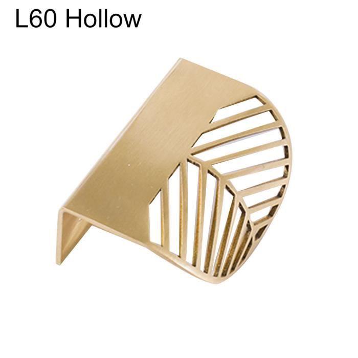 Feuille forme meubles cuisine caba-inet armoire tiroir tirer bouton laiton porte poignée feuil - Modèle: L60 Hollow - WMCFXGJA00450