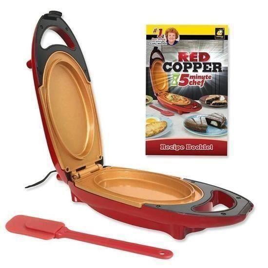 Red Coppe5 Minute Cooker + Spatule –Mini Cuiseur électrique avec surface anti-adhésive en céramique renforcée(PDF recettes Francais)