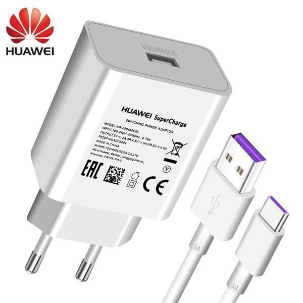 Chargeurs,Huawei P20 Pro Lite chargeur USB mural voyage 22.5W rapide 100% Original 5V4.5A 5A USB Type C - Type EU with 5A cable