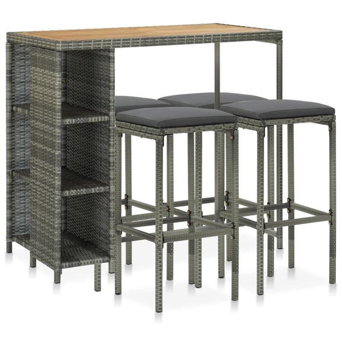 FMC® Ensemble Table de bar de jardin + 4 tabourets bar Contemporain - Mange-Debout - et coussins Résine tressée Gris ♪♪49122