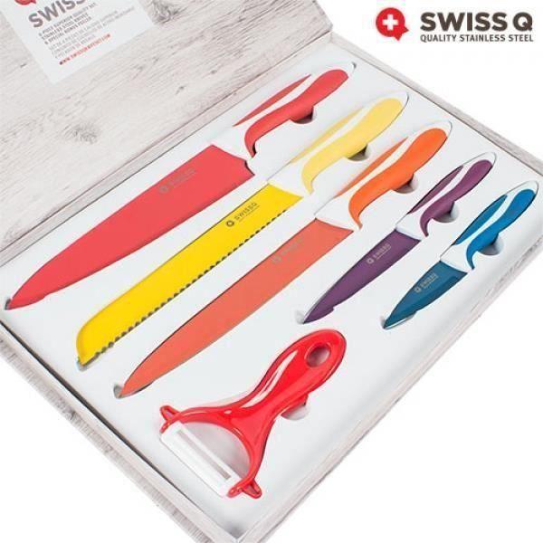Coffret jeu de 5 couteaux de cuisine avec econome epluche legume en céramique SQ LIK5391