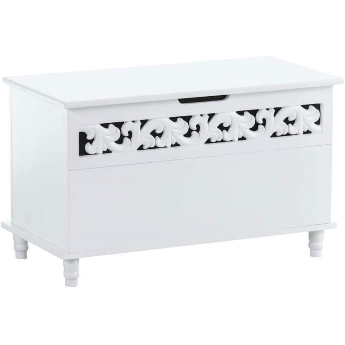 Banc-Coffre en Bois Millie I Meuble de Rangement Blanc avec Coffre de Rangement et Couvercle I Banquette de Couloir I Design Rus24