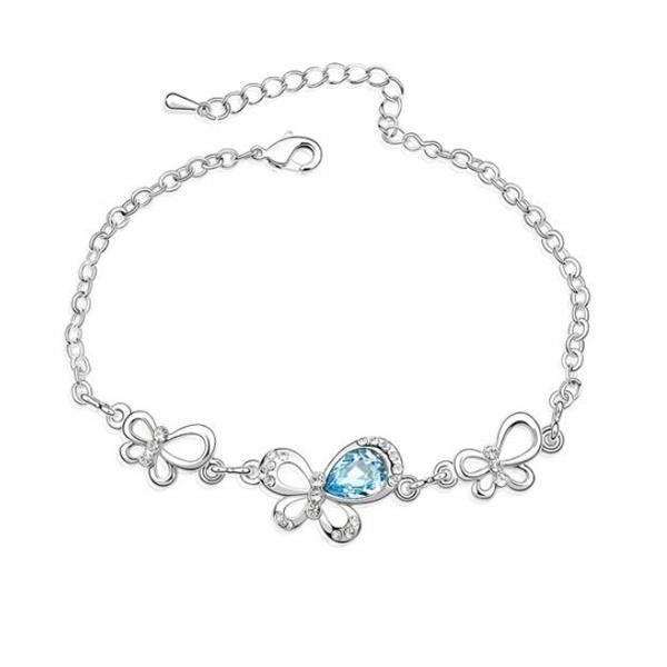 Bracelet Papillon en Cristal Swarovski Elements Bleu