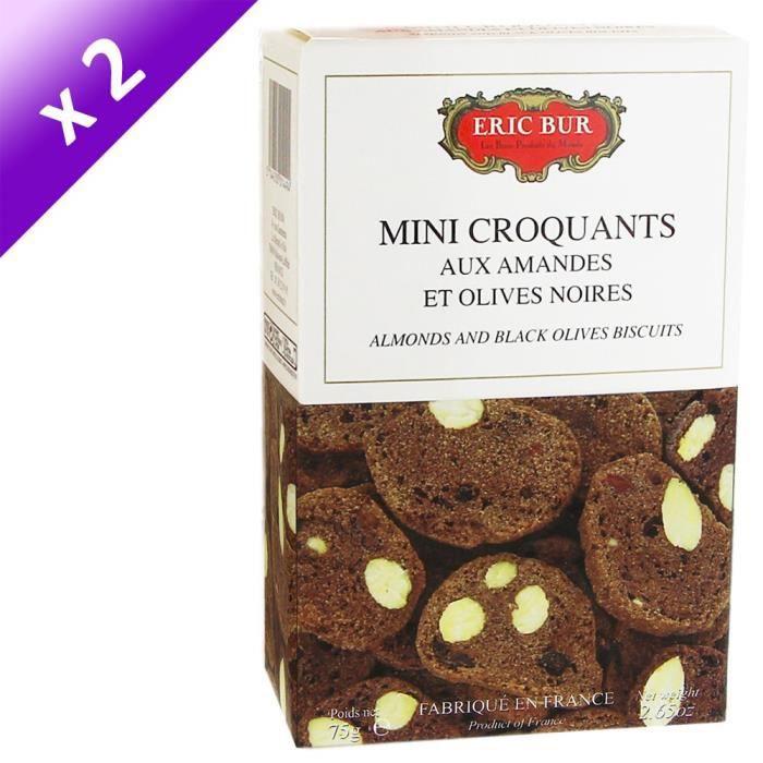[LOT DE 2] ERIC BUR Mini Croquants aux Amandes et Olives Noires - 75 g