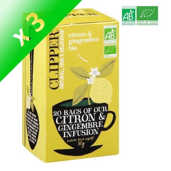 [LOT DE 3] CLIPPER Infusion Citron Gingembre - Bio - 50 g
