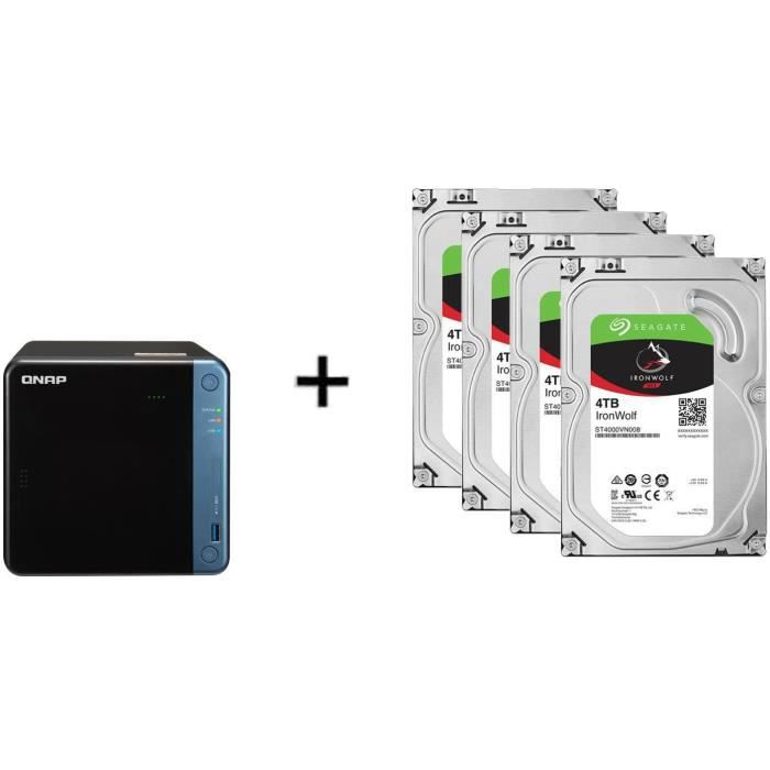 Serveur de Stockage (NAS) - TS-453BE-4G - 4 Baies + 4 Disque dur Interne - NAS Iron Wolf - 4To - 5 900 tr/min - 3.5- (ST4000VN008)
