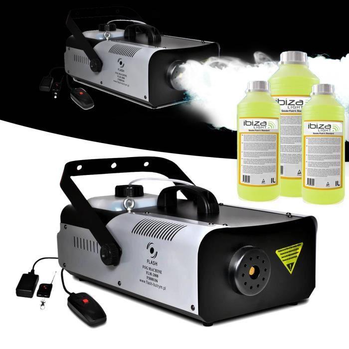 Machine à fumée 2000W capacité 2L + télécommandes + étrier de fixation FLASH + 3L de liquide
