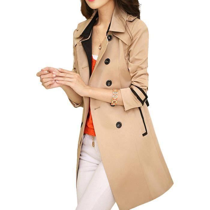 Femme Manteau Trench Coat Jacket avec Ceinture ...