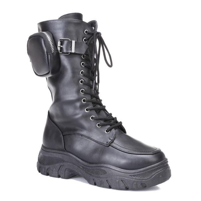 Bottes mi-mollets noires à lacets avec poche zippée