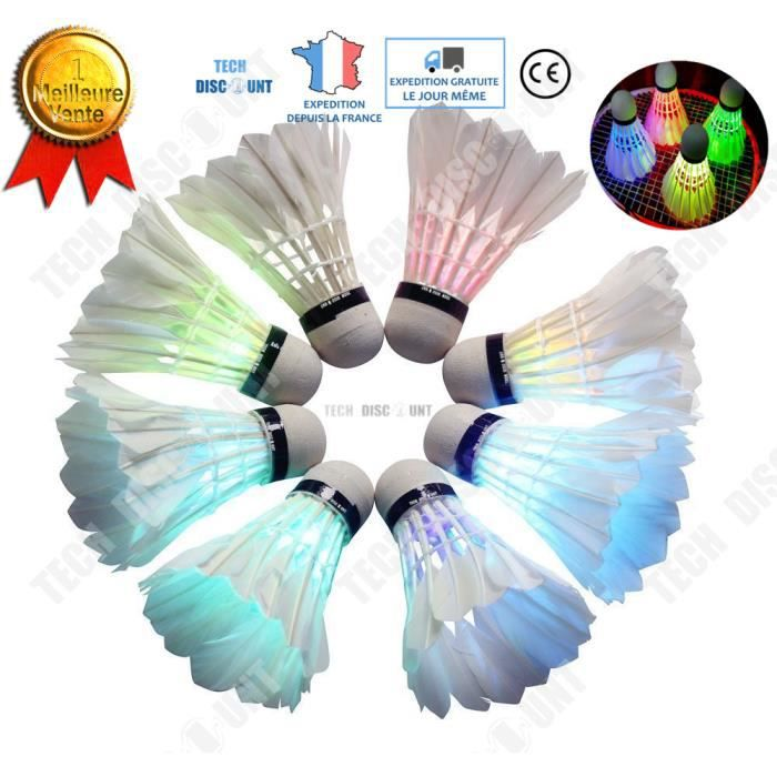 TD® volants badminton lumineux led plumes plastique fluo pour la nuit eclairage exterieur interieur lumiere noir lueur coloree sport