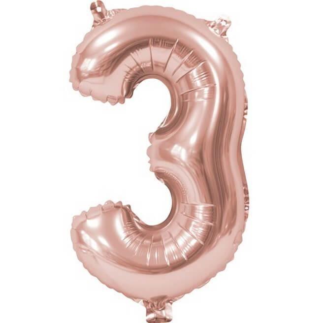BA3000 - 1 Ballon anniversaire chiffre 3 rose gold métallique. Matière aluminium.