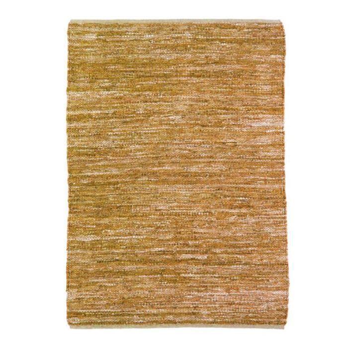 SKIN - Tapis en cuir tressé jaune 160x230