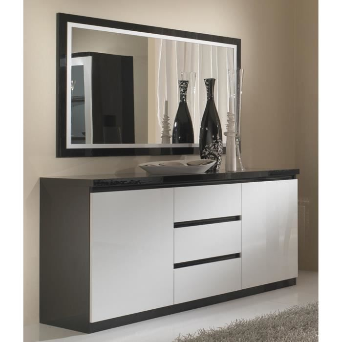 bahut roma bicolore laque 2 portes 3 tiroirs achat vente buffet bahut bahut roma bicolore. Black Bedroom Furniture Sets. Home Design Ideas