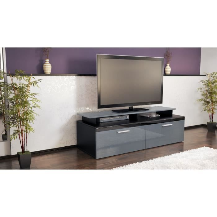 meuble tv design noir et gris laqu 140 cm achat vente meuble tv meuble tv design noir et. Black Bedroom Furniture Sets. Home Design Ideas