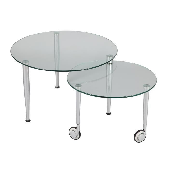 table basse sur roulettes modulable en verre glass achat vente table basse table basse sur. Black Bedroom Furniture Sets. Home Design Ideas