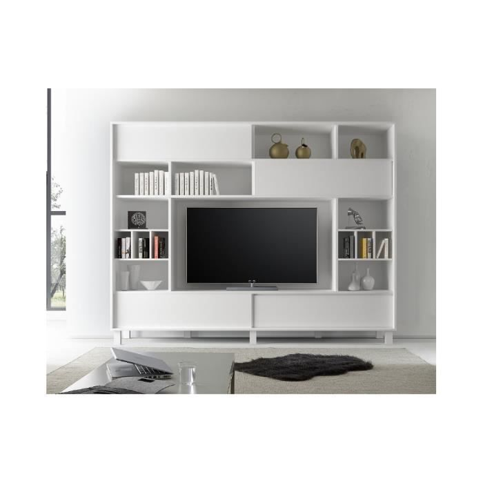 meuble tv biblioth que rangement alfe 240 x 203 x 40 blanc achat vente meuble tv meuble. Black Bedroom Furniture Sets. Home Design Ideas