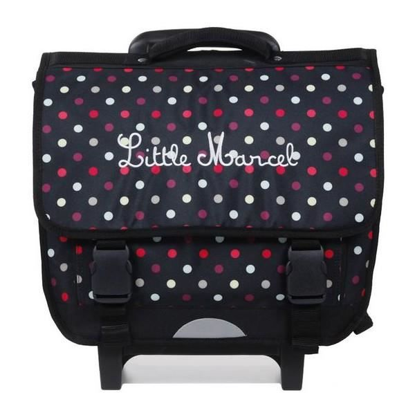 cartable roulette 38cm little marcel noir rework pois. Black Bedroom Furniture Sets. Home Design Ideas