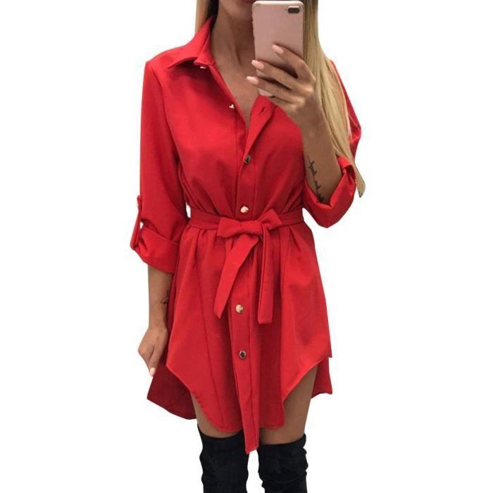 Minetom Robe Femme Manches Longues Chemise Robe Split Avec Centure Uni Basique Casual Robe Tunique Rouge Achat Vente Robe Bientot Le Black Friday Cdiscount