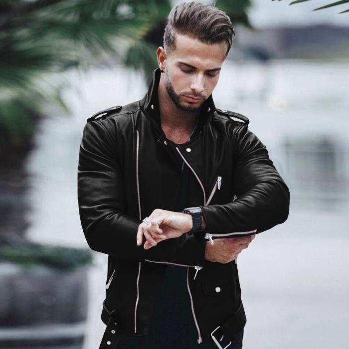 nouvelle sélection grandes marques prix réduit Taille Plus Blouson Simili Cuir Homme Perfecto Zippée -Taille ...