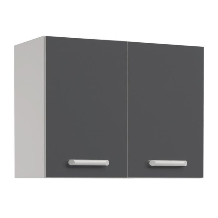 el ment haut de cuisine 80 cm gris brillant h 57 x l 80 x. Black Bedroom Furniture Sets. Home Design Ideas