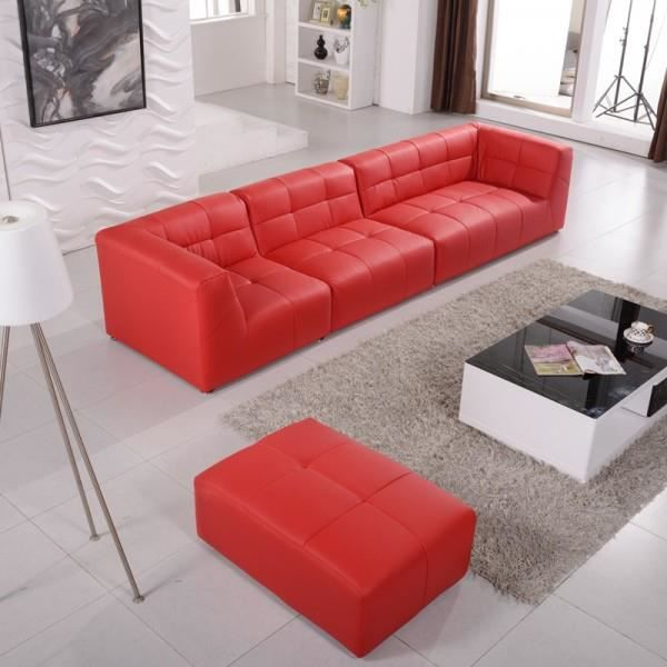 canap modulable cuir synth pogo pop art rouge achat vente canap sofa divan cuir pu. Black Bedroom Furniture Sets. Home Design Ideas