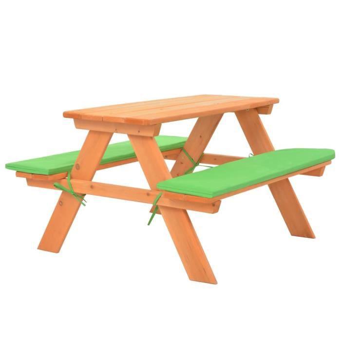 vidaXL Table de pique-nique pour enfants avec bancs 89x79x50 cm Sapin