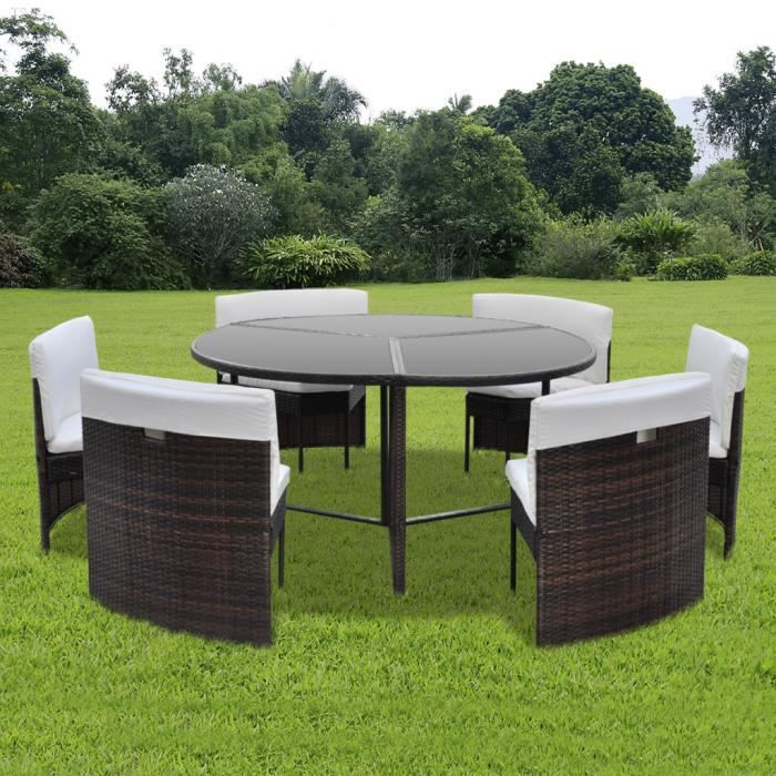 Vidaxl salon de jardin rond 6 places en rotin brun for Table ronde 6 personnes