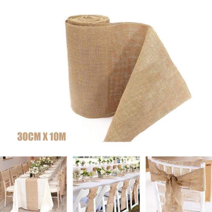 De couleur naturelle de Hesse jute jute tissu de lin Ruban Rouleau Craft Mariage Decor
