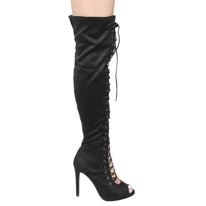 Miya-1 Over Knee High Lace Up High Stiletto Heel Boots L6NC8 Taille-41