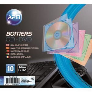 APM 570249 Slimcase 10 Boitiers CD Couleur