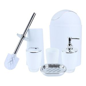 Nurdanil Lot de 5 accessoires de salle de bain en plastique 6 couleurs Design moderne Blanc